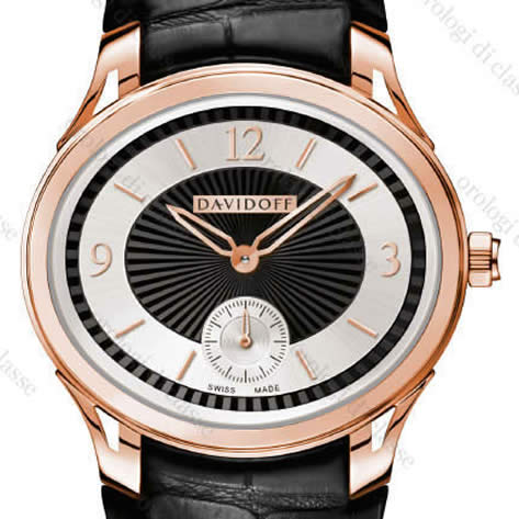 Orologio Davidoff Lady quartz red gold bicolour dial black alligator strap #6501