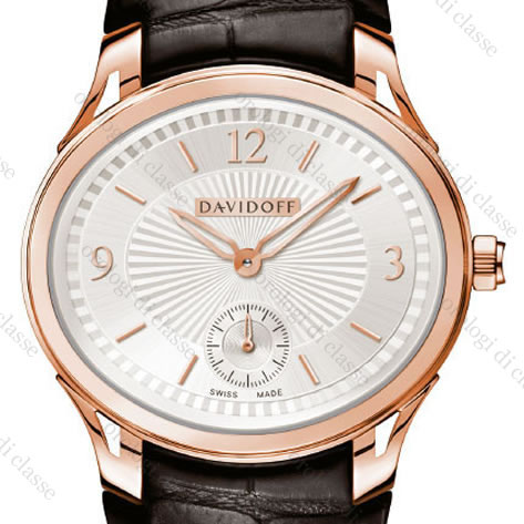 Orologio Davidoff Lady quartz red gold silvered dial dark brown alligator strap #6502
