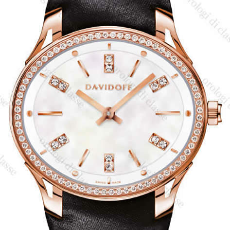 Orologio Davidoff Lady quartz red gold white MOP dial diamonds #6504