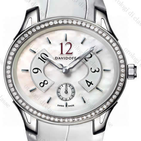 Orologio Davidoff Lady quartz white mother of pearl dial 72 diamonds white alligator strap #6510