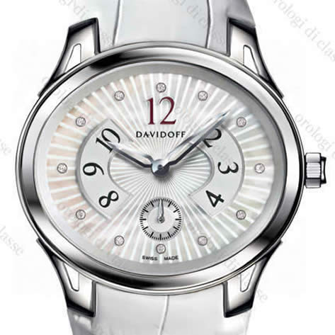 Orologio Davidoff Lady quartz white mother of pearl dial guilloche 12 diamonds white alligator strap #6508