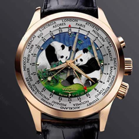 Orologio Vulcain Aviator GMT Email Cloisonnè Pandas #10395