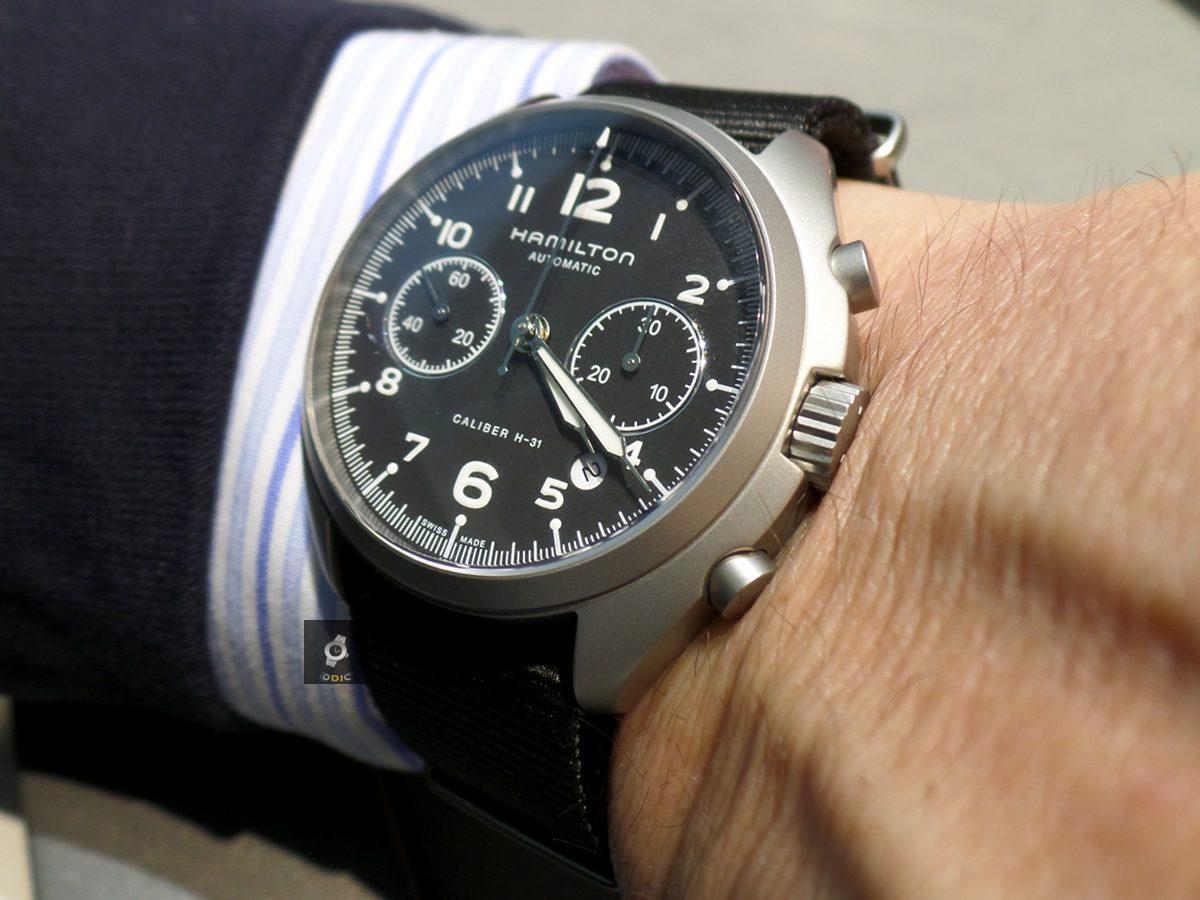 Hamilton khaki pilot pioneer auto chrono foto live prezzo for Immagini orologi da polso