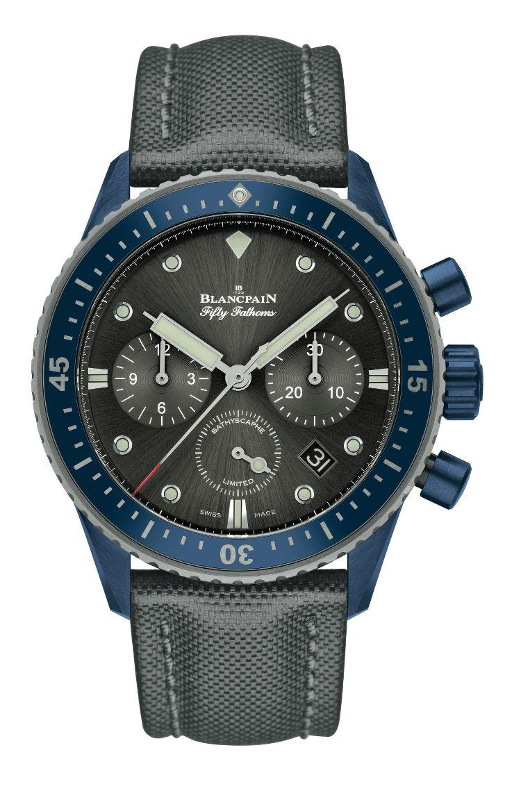 fronte Fifty Fathoms Bathyscaphe Chronographe Flyback Blancpain Ocean Commitment II