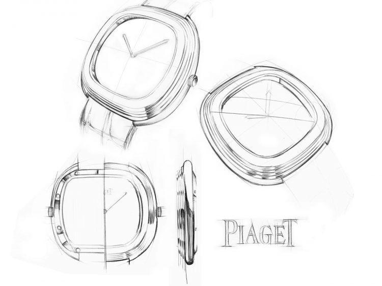 schizzo forme tonneau Piaget Black Tie Vintage